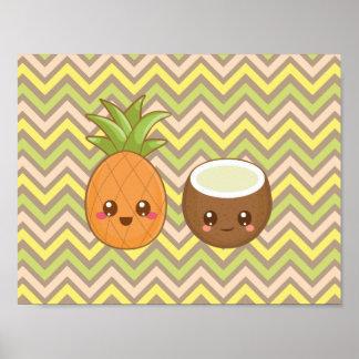 Poster del coco de la piña de Kawaii Póster