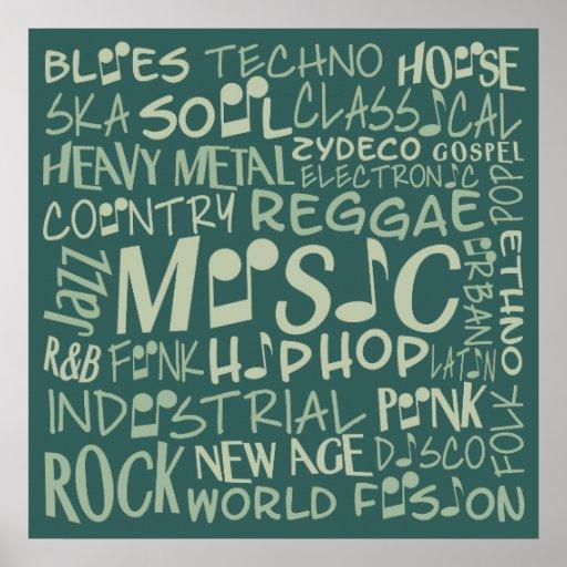Poster del collage de la palabra de los géneros de