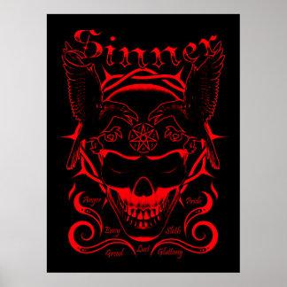 Poster del cráneo del pecador (rojo)