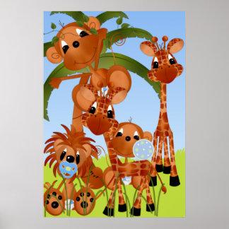 Poster del cuarto de niños de los animales del saf póster