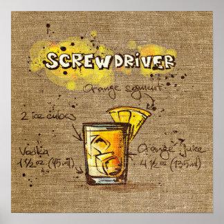 Poster del destornillador de la receta del cóctel póster