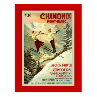 Poster del esquí del vintage, Chamonix, Mt Blanc Postal