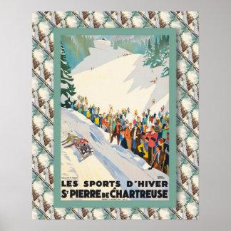 Poster del esquí del vintage, en del Saint Pierre