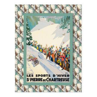 Poster del esquí del vintage, Francia, St Pierre Postal