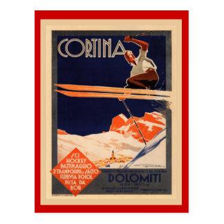 Poster del esquí del vintage, Italia, cortina de Postal