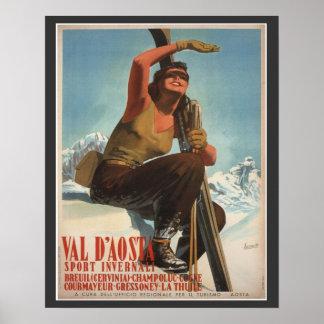 Poster del esquí del vintage, Italia, Valle de Aos Póster