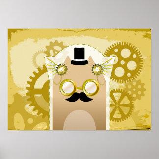Poster del gato de Steampunk Póster