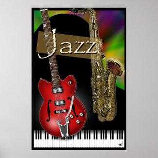 Poster del jazz del piano, del saxofón y de la gui