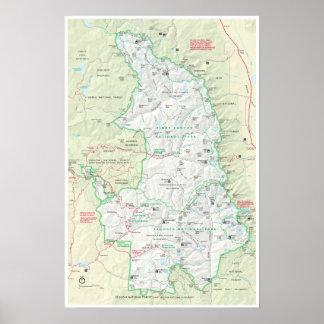 Poster del mapa de la secoya y de reyes Canyon Póster