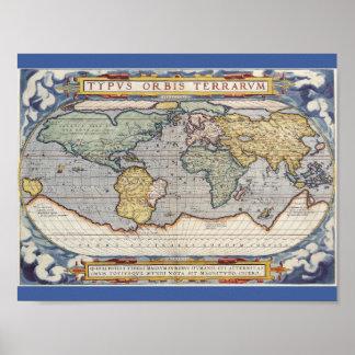 Poster del mapa del mundo del vintage póster