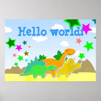 Poster del mundo de los amigos del dinosaurio hola póster