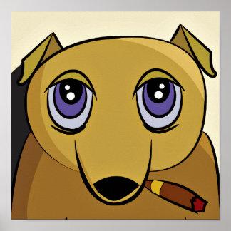 Poster del perro del cigarro póster