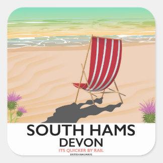 Poster del sur de la playa de Devon de los jamones Pegatina Cuadrada