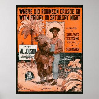 Poster del teatro de Al Jolson Póster