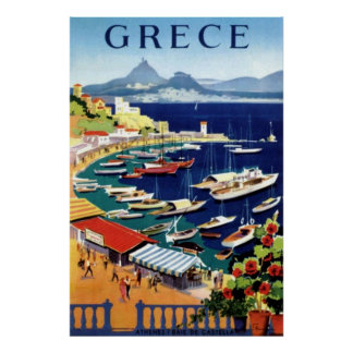 Poster del viaje de Atenas Grecia del vintage Póster