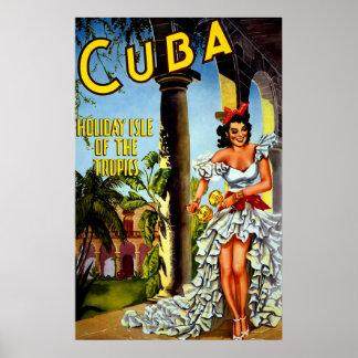 Poster del viaje de Cuba del vintage - zonas Póster