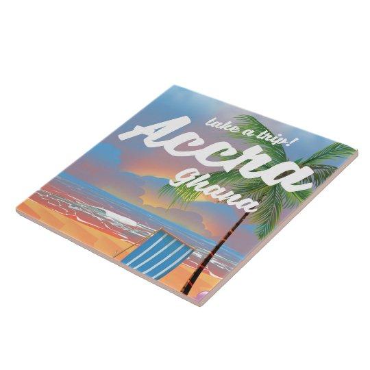 Poster del viaje de la playa de Accra Ghana Azulejo Cuadrado Grande