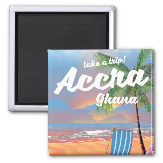 Poster del viaje de la playa de Accra Ghana Imán