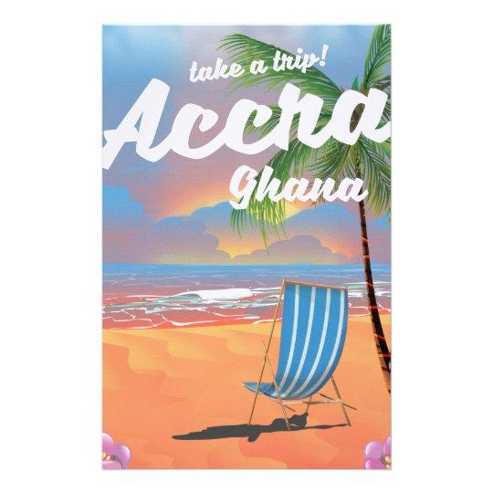 Poster del viaje de la playa de Accra Ghana Papelería
