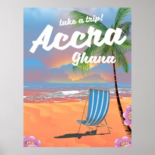 Poster del viaje de la playa de Accra Ghana Póster