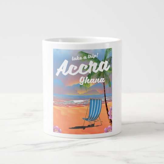 Poster del viaje de la playa de Accra Ghana Taza De Café Grande
