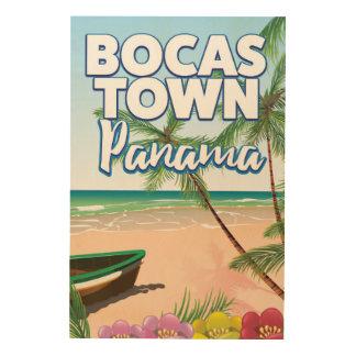 Poster del viaje de la playa de Panamá de la Impresión En Madera