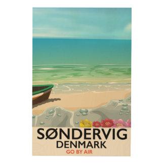 Poster del viaje de la playa de Søndervig Impresión En Madera