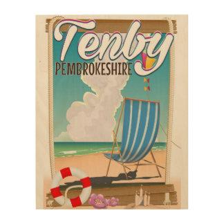 Poster del viaje de la playa de Tenby Impresión En Madera