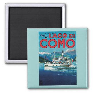 Poster del viaje de Lago Di Como Vintage Imán Cuadrado