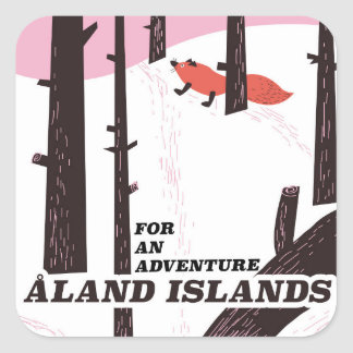 Poster del viaje de las islas de Åland, Finlandia Pegatina Cuadrada