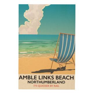 Poster del viaje de Northumberland de la playa de Impresión En Madera