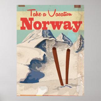 Poster del viaje de Noruega del vintage Póster