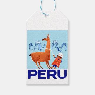 Poster del viaje de Perú del niño y de la llama Etiquetas Para Regalos