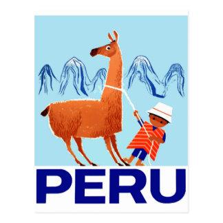 Poster del viaje de Perú del niño y de la llama Postal