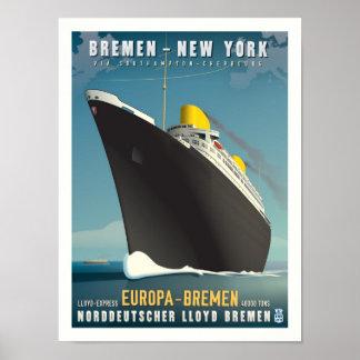 Poster del viaje del art déco del Europa de los SS Póster