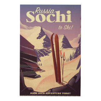 Poster del viaje del esquí de Sochi Rusia Impresión En Madera