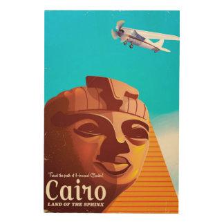 Poster del viaje del estilo del vintage de El Impresión En Madera