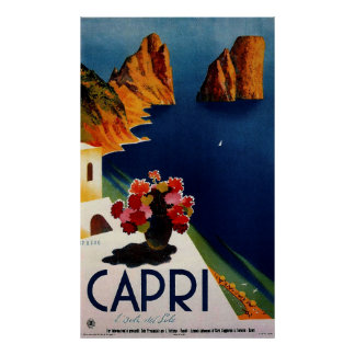 Poster del viaje del francés de Capri del vintage Póster