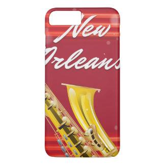 Poster del viaje del saxofón de New Orleans Funda iPhone 7 Plus