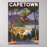 Poster del viaje del vintage, Cape Town, Suráfrica