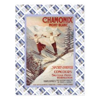 Poster del viaje del vintage, Chamonix, Mont Postal