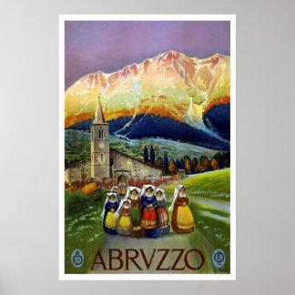 """Poster del viaje del vintage de """"Abruzos, Italia"""" Póster"""