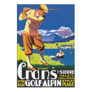 Poster del viaje del vintage de Alpin del golf Postal