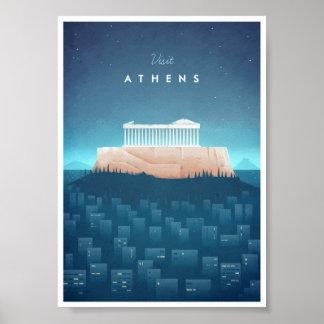 Poster del viaje del vintage de Atenas Póster