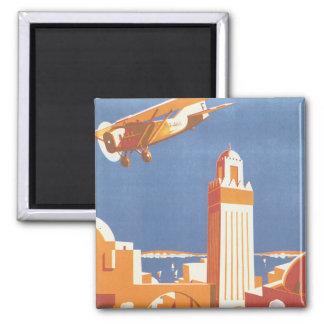 Poster del viaje del vintage de Avion del par de Imán Cuadrado