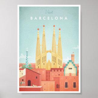 Poster del viaje del vintage de Barcelona Póster