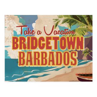 Poster del viaje del vintage de Bridgetown, Postal