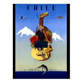 Poster del viaje del vintage de Chile Postal