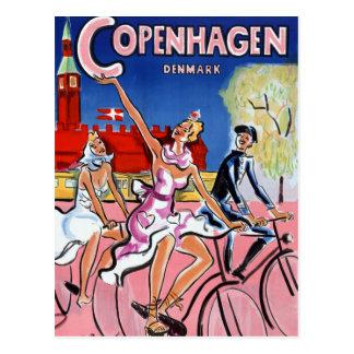 Poster del viaje del vintage de Copenhague Postal