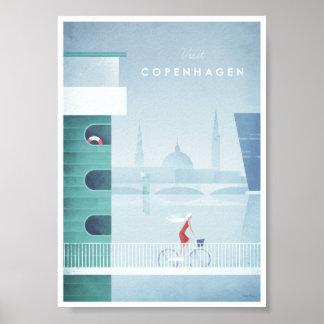 Poster del viaje del vintage de Copenhague Póster